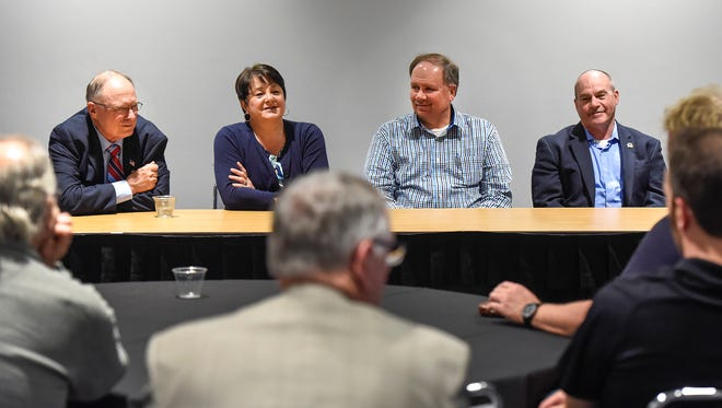 Sen. Jerry Relph, R-St. Cloud, Rep. Tama Theis, R-St. Cloud, Rep. Jim Knoblach, R-St. Cloud, and Rep. Jeff Howe, R-Rockville, spoke during a Joint Area Cities meeting Tuesday, May 30, at the River's Edge Convention Center.