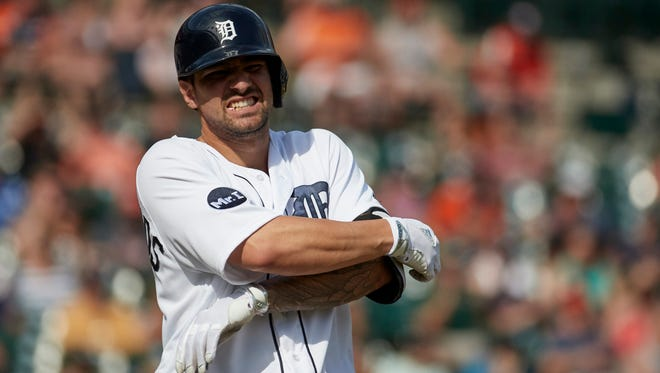 Jun 4, 2017; Detroit, MI, USA; Tigers third baseman Nick Castellanos reacts after he is hit by a pitch in the ninth inning against the White Sox at Comerica Park.