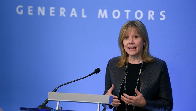 Chairman and Chief Executive Officer of General Motors Company Mary Barra speaks during the GM press conference before the Shareholder Meeting at the Renaissance Center in Detroit on Tuesday, June 6, 2017.