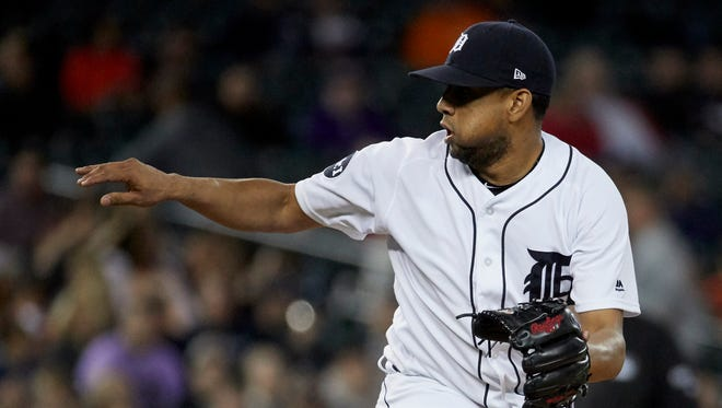 Jun 6, 2017; Detroit, MI, USA; Tigers relief pitcher Francisco Rodriguez pitches in the ninth inning against the Angels at Comerica Park.
