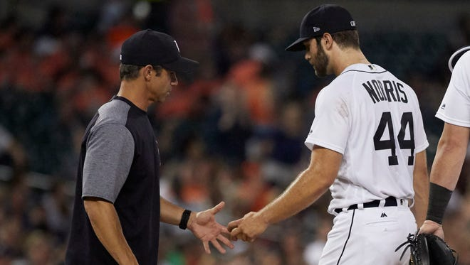 Manager Brad Ausmus relieves pitcher Daniel Norris in the seventh inning of the Tigers' 13-4 win over the Rays on Friday, June 16, 2017 at Comerica Park.