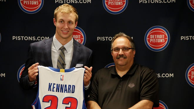 Luke Kennard is introduced alongside Pistons president/coach Stan Van Gundy on Friday, June 23, 2017 at the Palace in Auburn Hills.