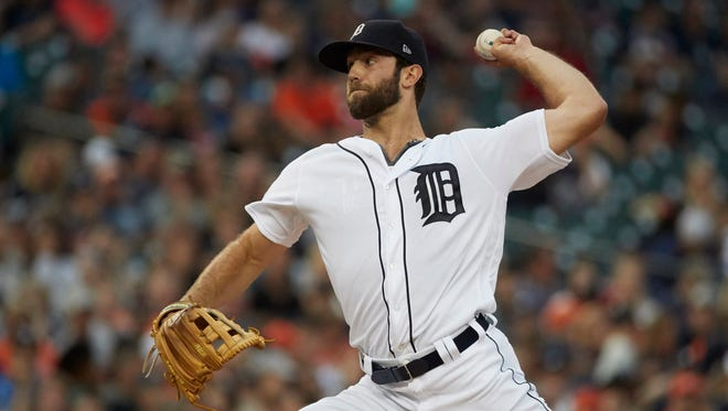 Jun 28, 2017; Detroit, MI, USA; Tigers starting pitcher Daniel Norris pitches in the fourth inning against the Royals at Comerica Park.