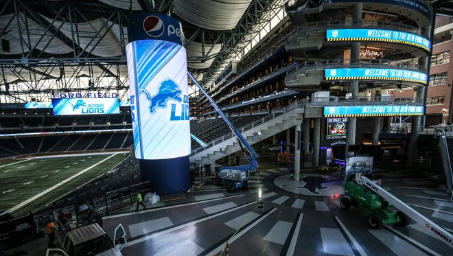The new Ford Field will feature enlarged videoboards and ribbons to keep fans updated and entertained, photographed on Wednesday, July 19, 2017.
