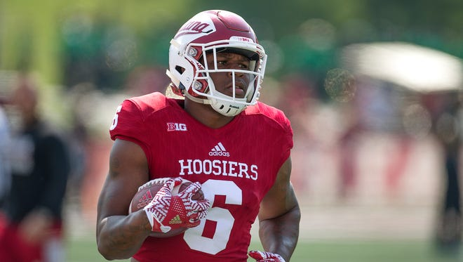 Indiana Hoosiers running back Camion Patrick (6) warms up pre-game at Memorial Stadium, Bloomington, Ind., Saturday, September 24, 2016. The Hoosiers take on the Wake Forest Demon Deacons.