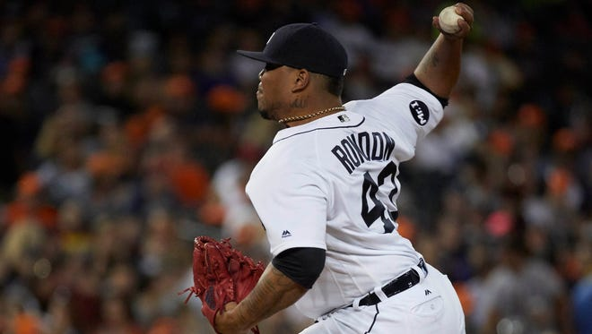 Tigers pitcher Bruce Rondon (43) pitches in the eighth inning of the Tigers' 6-5 loss to the Astros on Friday, July 28, 2017, at Comerica Park.