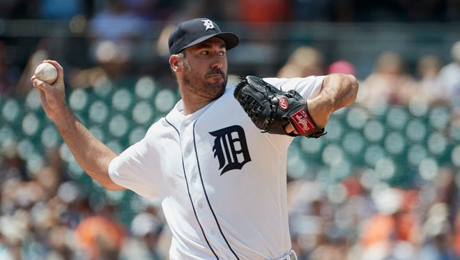 Jul 30, 2017; Detroit, MI, USA; Tigers starting pitcher Justin Verlander pitches in the first inning against the Astros at Comerica Park.
