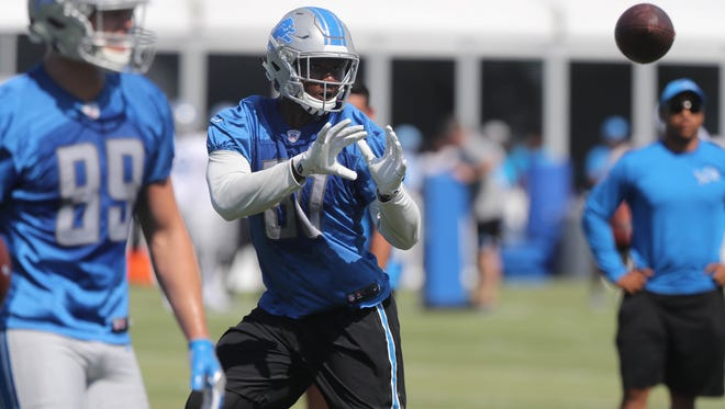 Lions tight end Michael Roberts goes through drills during practice Monday, July 31, 2017, at the practice facility in Allen Park.