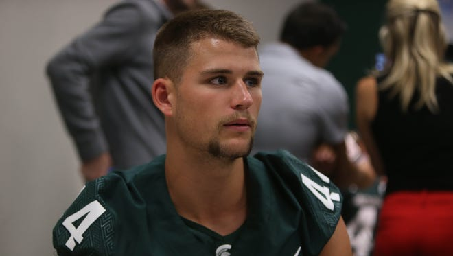 Michigan State safety Grayson Miller talks with reporters Monday, August 7, 2017 at Spartan Stadium in East Lansing.
