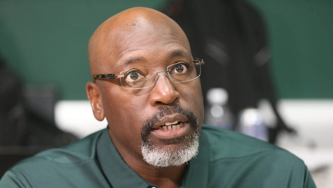 Michigan State associate head coach Harlon Barnett talks with reporters Monday, August 7, 2017 at Spartan Stadium in East Lansing.