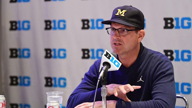 Michigan head coach Jim Harbaugh speaks at Big Ten Media Day in Chicago, July 25, 2017.