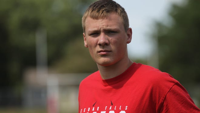 Cedar Falls' Jack Campbell poses for a photo before practice on Wednesday, Aug. 9, 2017. The junior linebacker has offers from Iowa, Iowa State and UNI.