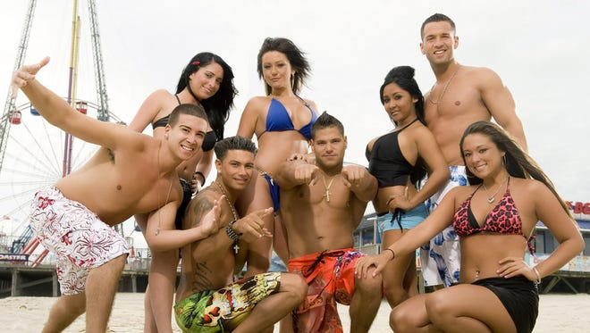 "In this publicity image released by MTV, the cast of ""Jersey Shore,"" from left, Vinny Guadagnino, Angelina Pivarnick, Paul "" DJ Pauly D"" Delvecchio, Jenni ""JWOWW"" Farley, Ronnie Magro, Nicole ""Snooki"" Polizzi,  Mike ""The Situation"" Sorrentino and Sammi ""Sweetheart"" Giancola are shown."