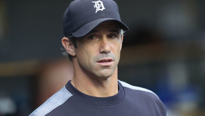 Tigers manager Brad Ausmus in the dugout during the second inning on Friday, Aug. 11, 2017, at Comerica Park.