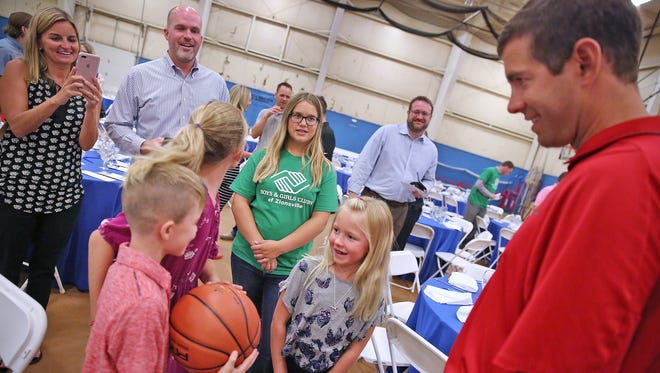 Boston Celtics coach Brad Stevens, right, talks with kids after a fundraiser at the Boys & Girls Club of Zionsville West, Saturday, August 12, 2017.  Coach Stevens returned for a keynote answer and question session at the breakfast fundraiser which benefited the Zionsville Boys & Girls Clubs where he played basketball while growing up in Zionsville.