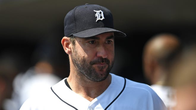 Tigers starting pitcher Justin Verlander looks on in the dugout during the fifth inning against the Dodgers at Comerica Park on Aug. 20, 2017.