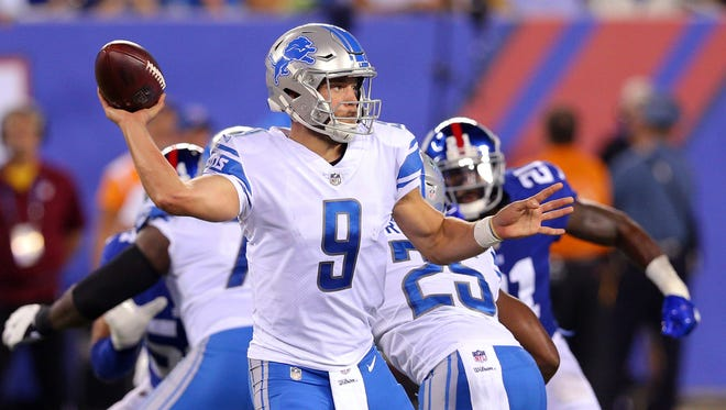 Sep 18, 2017; East Rutherford, NJ, USA; Lions quarterback Matthew Stafford passes against the Giants during the second quarter at MetLife Stadium.