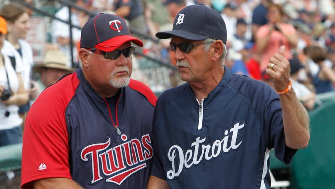 Ron Gardenhire, left, and former Detroit Tigers manager Jim Leyland talk before a spring training game in Lakeland, Fla., on Wednesday, March 21, 2012. Gardenhire is expected to be the Tigers new manager.