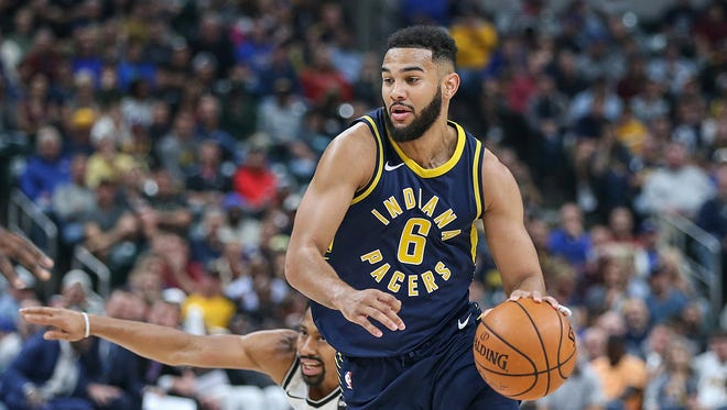 Indiana Pacers guard Cory Joseph (6) drives the ball around defenders during second half action between the Indiana Pacers and Brooklyn Nets in the home opener at Banker's Life Fieldhouse, Indianapolis, Wednesday, Oct. 18, 2017. The Pacers won, 140-131.
