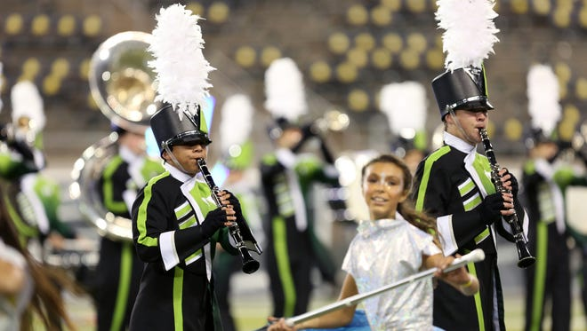 West Salem High School clarinetists perform in the Northwest Association for Performing Arts Marching Band Championships at the University of Oregon in Eugene on Saturday, Nov. 4, 2017.
