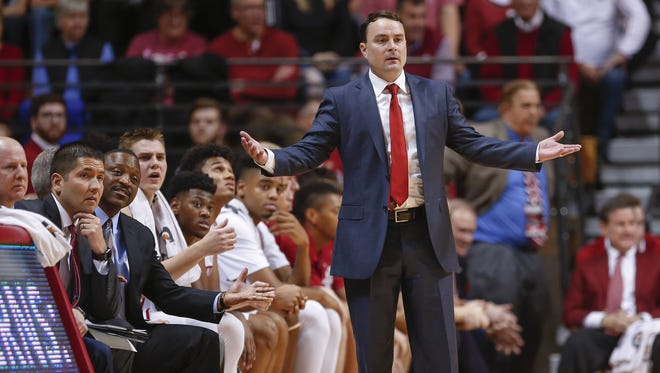 Indiana Hoosiers head coach Archie Miller is seen during the game against the Fort Wayne Mastodons at Simon Skjodt Assembly Hall on December 18, 2017 in Bloomington, Indiana. (Michael Hickey for The Star)