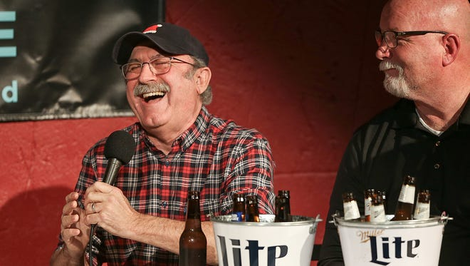 Bob Kevoian laughs along to conversation during Thursday's Kristi Lee podcast event at Morty's Comedy Joint.