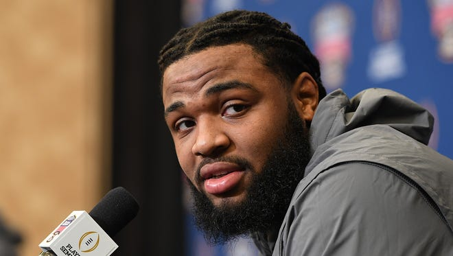 Clemson defensive lineman Christian Wilkins answers questions from the media during a Sugar Bowl press conference in New Orleans on Thursday, December 28, 2017.