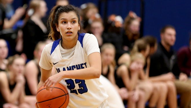 Blanchet's Ana Coronado (23) looks to pass the ball in the second half of the Salem Academy vs. Blanchet girls basketball game at Blanchet Catholic School in Salem on Wednesday, Jan. 3, 2018. Salem Academy won the game 50-24.