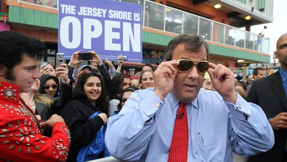 "New Jersey Gov. Chris Christie before a ""Today"" show appearance from the Seaside Heights, N.J., boardwalk May 24, 2013."
