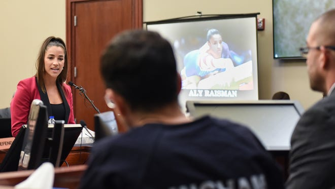 Former Olympian Aly Raisman confronts Larry Nassar in Circuit Judge Rosemarie Aquilina's courtroom Friday, Jan. 19, 2018, during the fourth day of victim impact statements regarding former sports medicine doctor, who pled guilty to seven counts of sexual assault in Ingham County, and three in Eaton County.