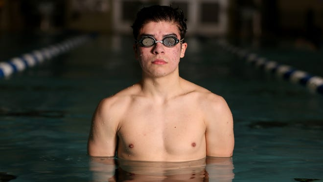 John Salgado, a Sprague senior swimmer, at the Salvation Army Kroc Community Center in Keizer  on Monday, Jan. 22, 2018.