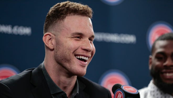 Detroit Pistons forward Blake Griffin answers questions from reporters on Wednesday, Jan. 31, 2018 at the Palace of Auburn Hills.