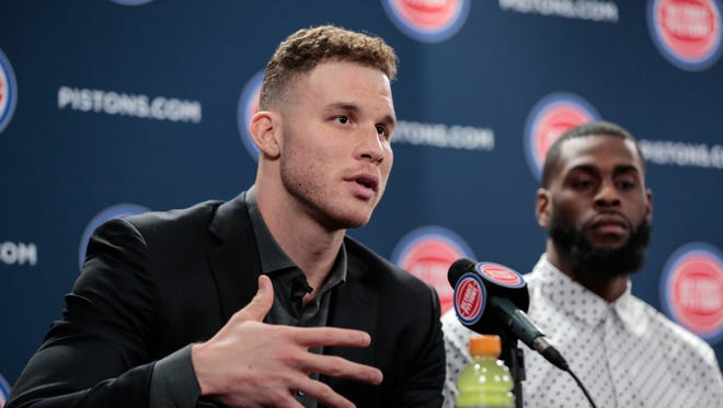 Pistons forward Blake Griffin answers questions from reporters on Wednesday at the Palace of Auburn Hills.