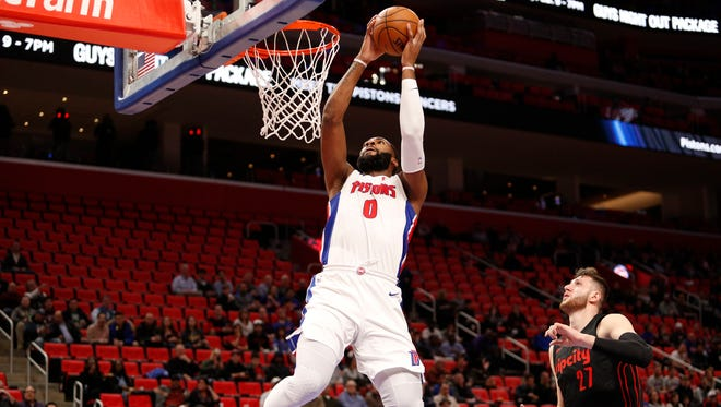 Detroit Pistons center Andre Drummond (0) dunks the ball during the first quarter against the Portland Trail Blazers at Little Caesars Arena, Monday, Feb. 5, 2018.
