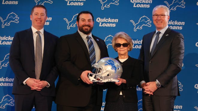 Left to right: Detroit Lions GM Bob Quinn, new head coach Matt Patricia, owner Martha Firestone Ford and team president Rod Wood, after Patricia's introductory news conference Feb. 7, 2018 in Allen Park.