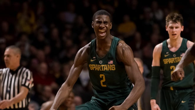 Feb 13, 2018; Minneapolis, MN, USA; Michigan State forward Jaren Jackson Jr. celebrates by flexing after his basket in the second half against Minnesota at Williams Arena.