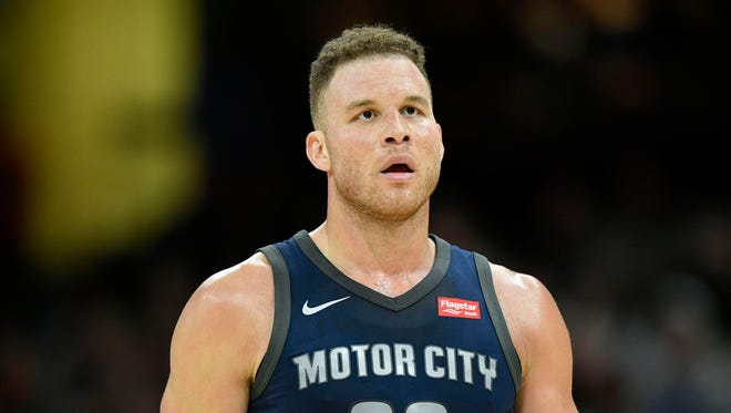 Blake Griffin reacts in the third quarter of the Pistons' 112-90 loss to the Cavaliers on Monday at Quicken Loans Arena.