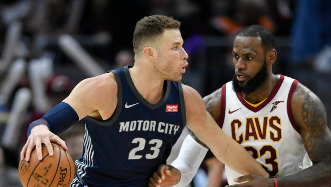 LeBron James defends Blake Griffin on March 5 in Cleveland.