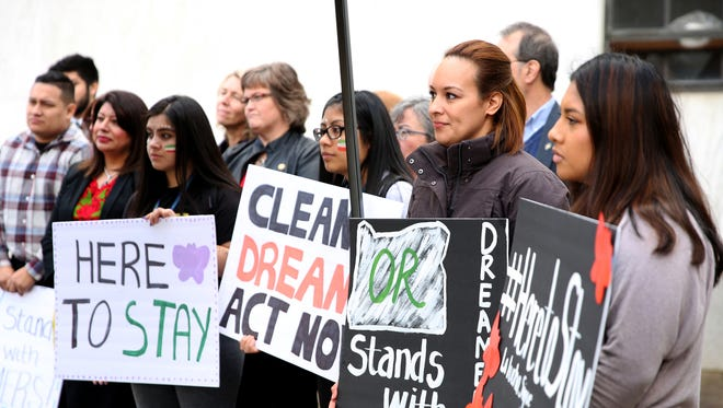 Anahi Barragan, second from right, a DACA recipient, attends a rally to support Oregon DACA recipients at the Oregon State Capitol in Salem on Monday, March 5, 2018. President Trump originally set March 5 as the deadline for Congress to act on the Deferred Action for Childhood Arrivals program.