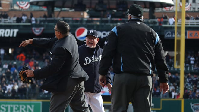 Detroit Tigers manager Ron Gardenhire gets kicked out of the game after a call was reversed in the 10th inning as the Detroit Tigers take on the Pittsburgh Pirates at Comerica Park for Opening Day in Detroit Friday March 30, 2018.