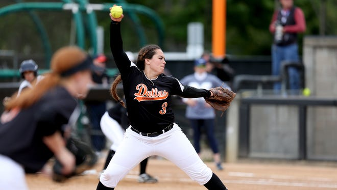 Dallas' Kaelynn Simmons (3) pitches in the Marist Catholic vs. Dallas OSAA class 5A championship softball game at Oregon State University in Corvallis on Saturday, June 3, 2017. Marist Catholic won the championship game 12-7.
