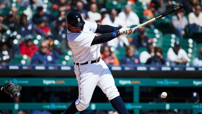 Tigers first baseman Miguel Cabrera (24) hits a single in the second inning on Thursday, April 19, 2018, at Comerica Park.