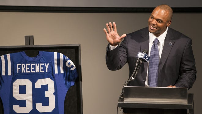 Dwight Freeney, longtime pass rusher for the  Colts, retires as a Colt in a ceremony at the Indiana Farm Bureau Football Center, Indianapolis, Monday, April 23, 2018.