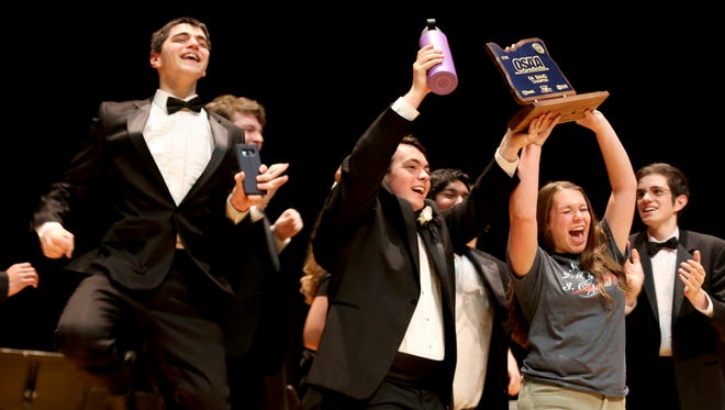 Sprague High School is awarded the first place trophy for the OSAA Class 6A Band State Championships at Oregon State University in Corvallis on Saturday, May 12, 2018.