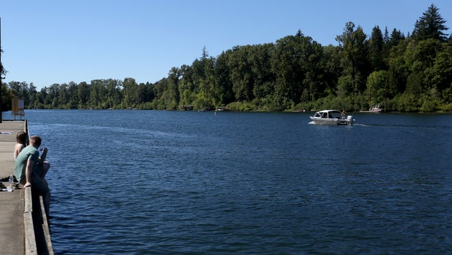 A boat moves on the Willamette River at Champoeg State Heritage Area near Wilsonville.