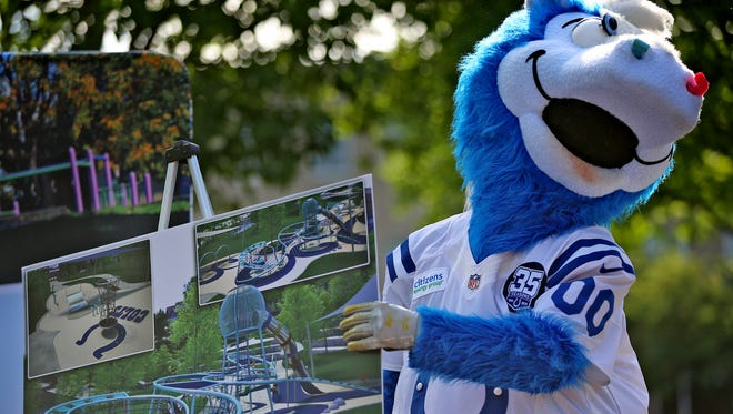 Indianapolis Colts mascot Blue jokes around after a press conference, Tuesday, June 5, 2018, announcing the new Canal Playspace that will open along the Downtown Canal in the fall 2018.