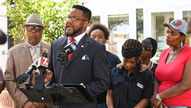 Dr. U.A. Thompson speaks for the family of Jermaine Massey during a press conference outside the Greenville County courthouse Friday, June 15, 2018 to respond to the news that the solicitor has cleared the deputies involved from any wrongdoing in the shooting death of Massey.