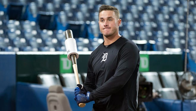 Tigers catcher James McCann during batting practice before a game against the Blue Jays at Rogers Centre on June 29.