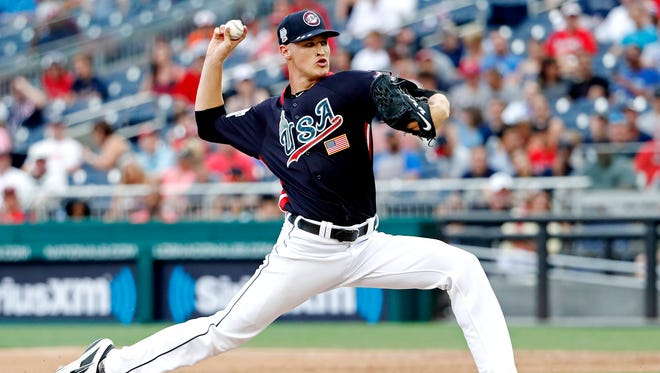 USA pitcher Matt Manning pitches in the fifth inning against the World Team during the 2018 All Star Futures Game at Nationals Ballpark on Sunday, July 15, 2018.
