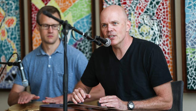 Dr. Nick Zyromski plays with his band, Nick Zyromski and the Crooked Finger Rhythm Revue at the IU Health Simon Cancer Center in Indianapolis, Thursday, July 26, 2018. The IU Health surgeon and his band performed as part of a lunchtime concert series, which he described as a chance to showcase the healing and therapeutic power of music.